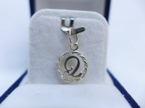Sterling Silver Letter Q in Rope Circle Charm
