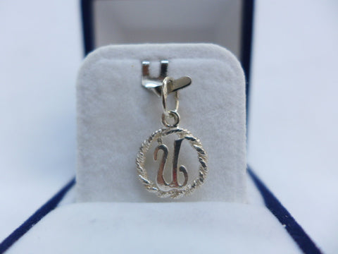 Sterling Silver Letter U in Rope Circle Charm
