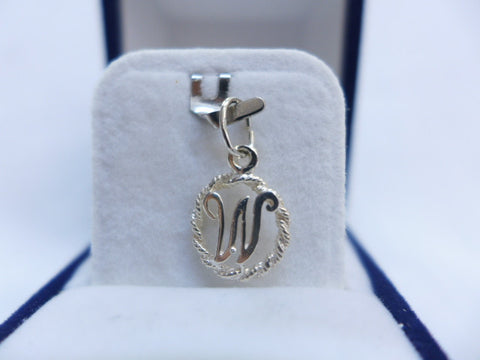Sterling Silver Letter W in Rope Circle Charm