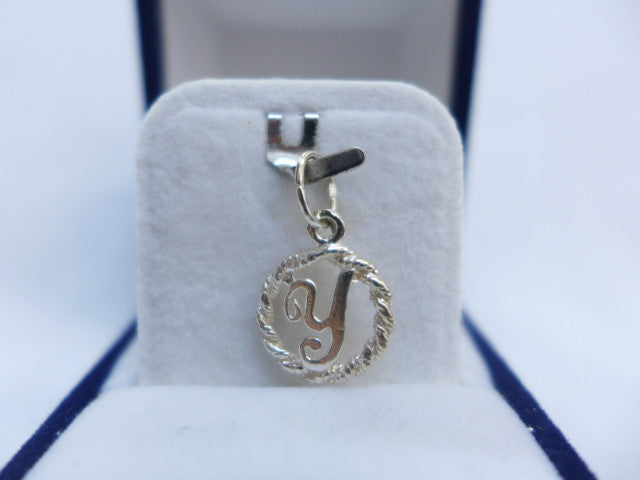 Sterling Silver Letter Y in Rope Circle Charm