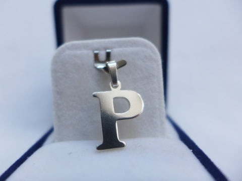 Sterling Silver Large Letter P Charm