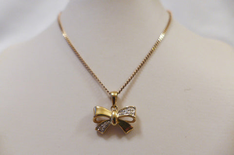 9Ct Gold Diamond Bow Pendant with Chain