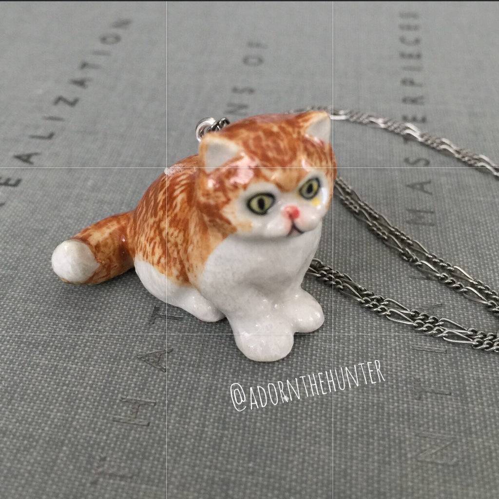 Orange Kitty Necklace