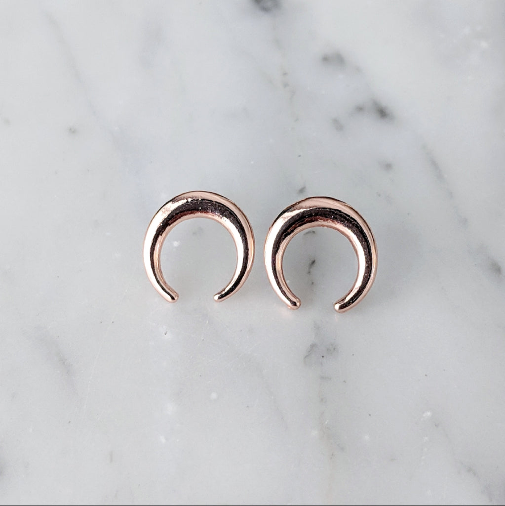 Rose Gold Crescent Earrings