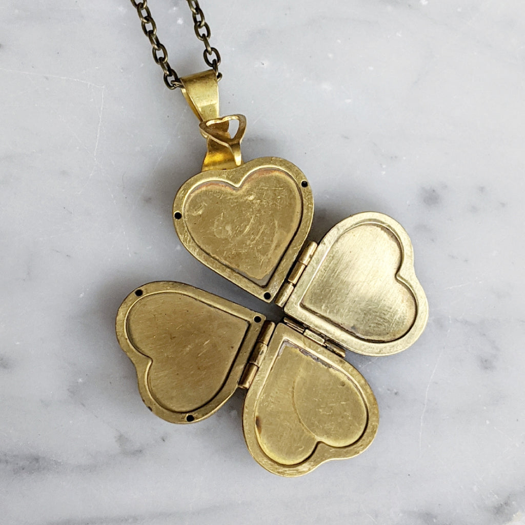 Clover Heart Locket Necklace