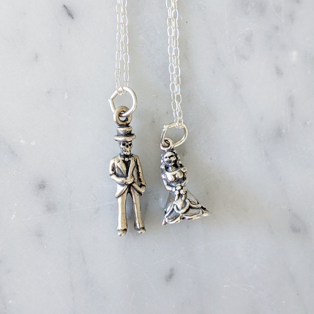 Day of the Dead Bride and Groom Necklace Set