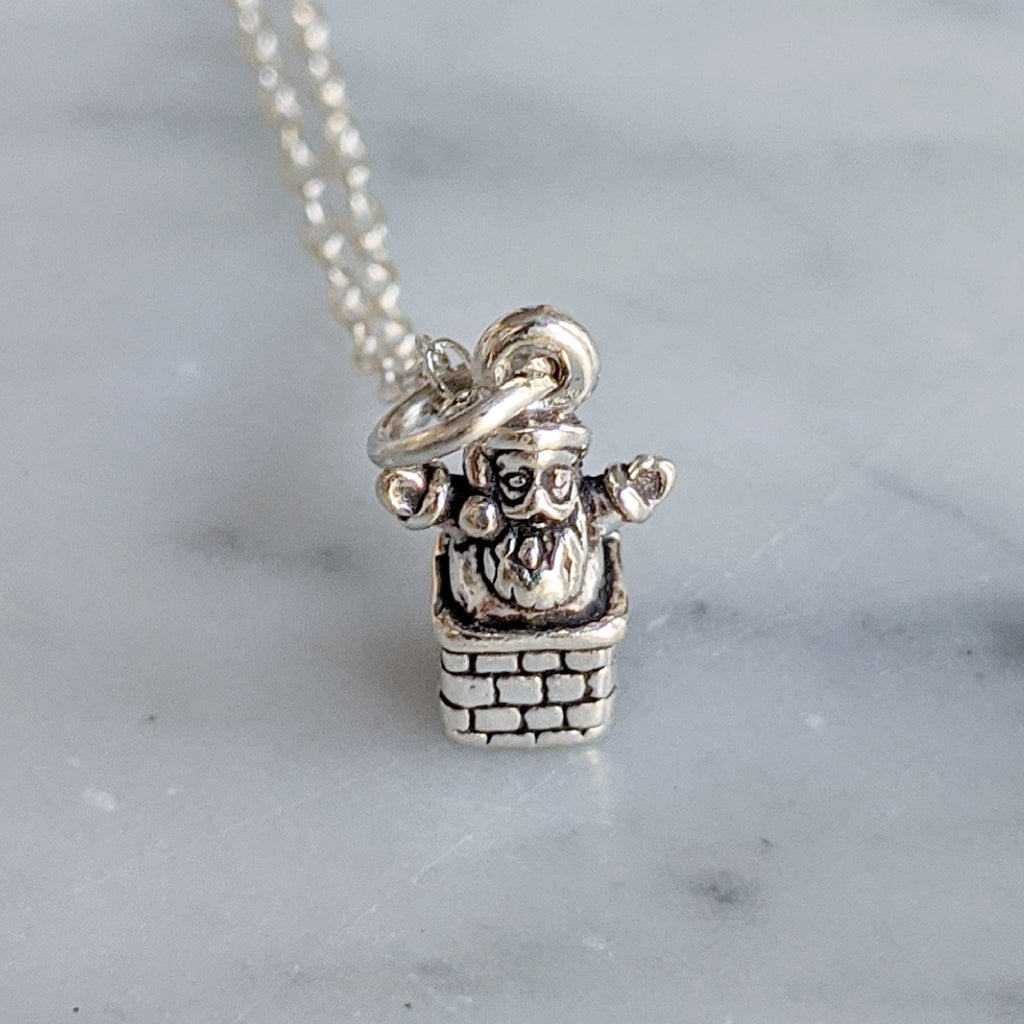 Teeny Santa in a Chimney Necklace