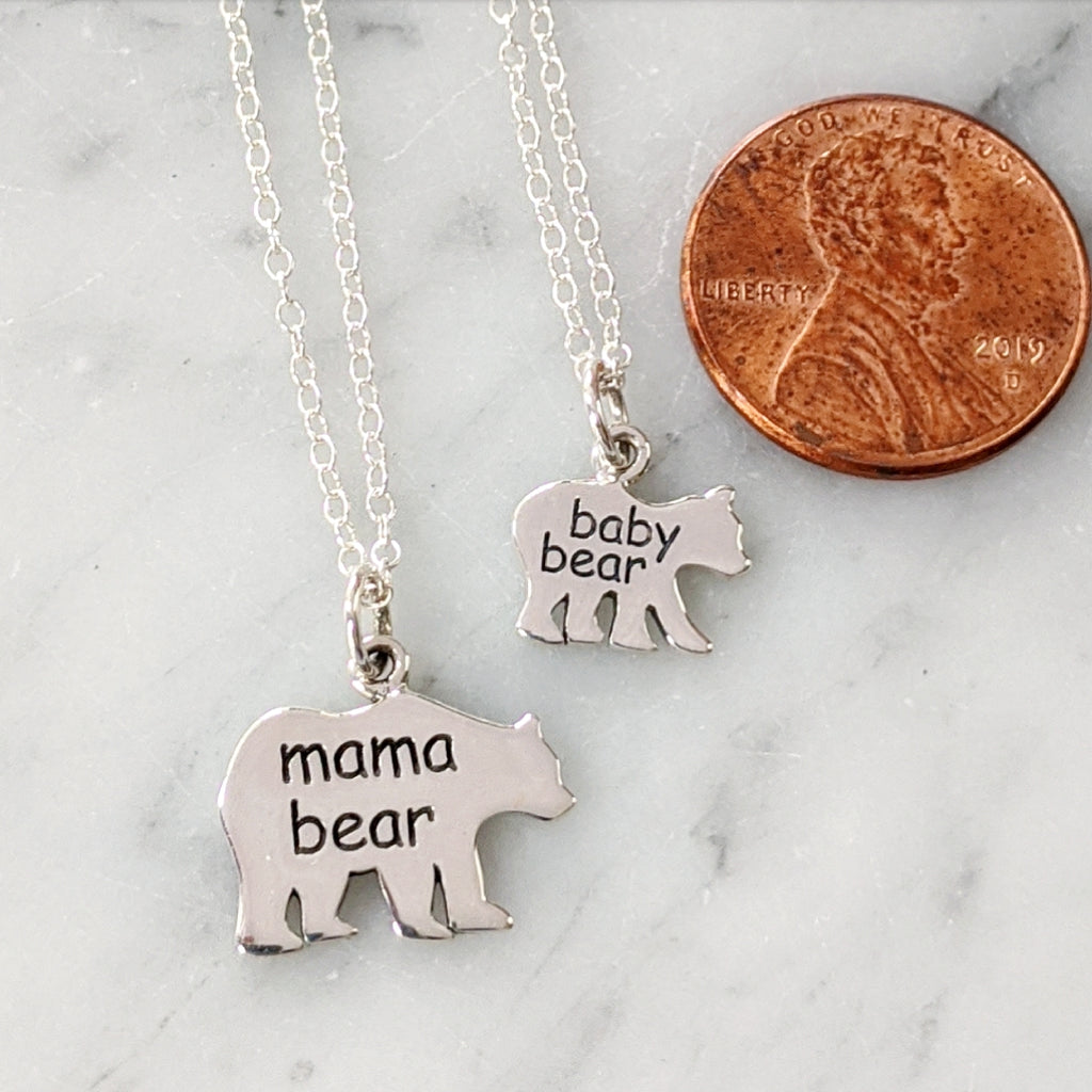 Mama and Baby Bear Necklace Set
