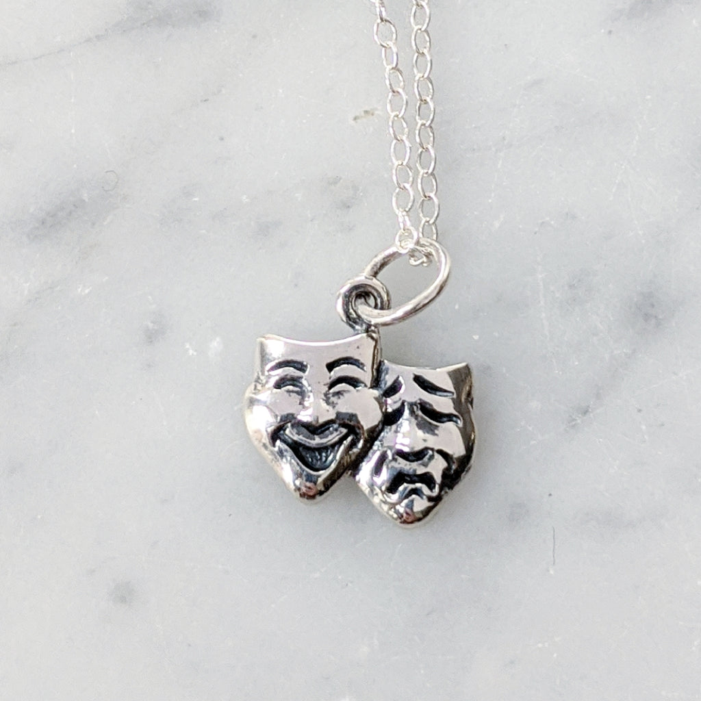 Tragedy and Comedy Mask necklace