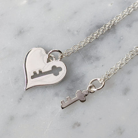 Sterling Silver Heart and Key Necklace Set