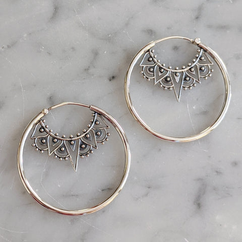 Sterling Deco Hoop Earrings