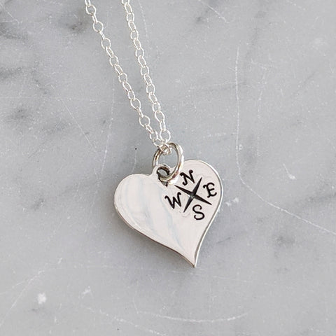 Sterling Silver Traveler at Heart Necklace
