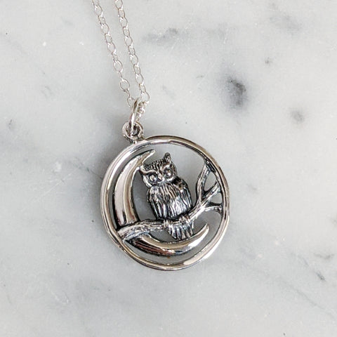 Sterling Owl and Moon Necklace