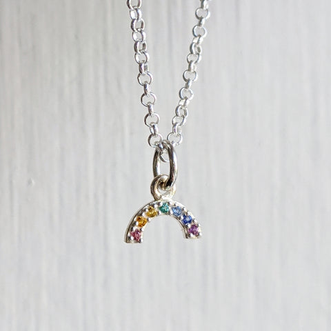 Sterling Tiny Rainbow Necklace