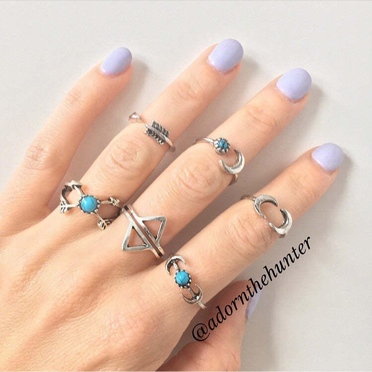Moons and Arrows Ring Set