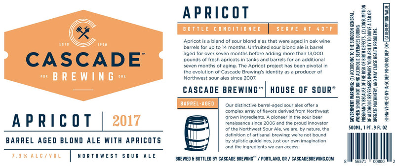 CASCADE BREWING 2017 BA APRICOT NORTHWEST SOUR ALE 500ml
