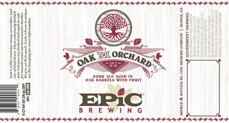 Epic brewing oak and orchard blueberry, boysenberry, black currant 375ml LIMIT 1