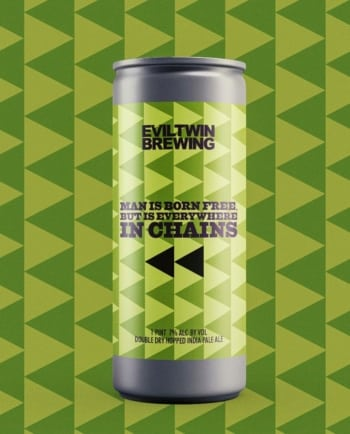 Evil Twin Man is Born Free but is Everywhere in Chains, double dry-hopped IPA 16oz CAN