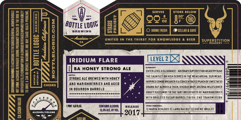 Bottle Logic Brewing Iridium Flare BA Honey Strong Ale 500ml LIMIT 1