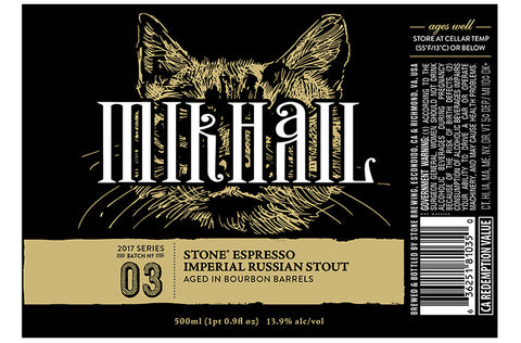 Stone Brewing Mikhail Espresso Imperial Russian Stout aged in Bourbon Barrels 500ml