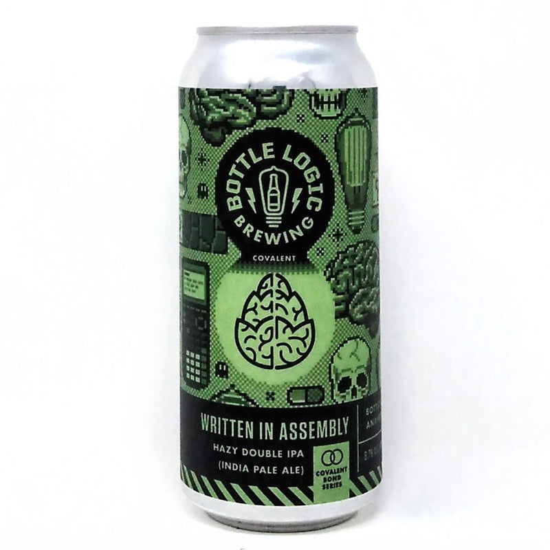 BOTTLE LOGIC BREWING WRITTEN IN ASSEMBLY HAZY DOUBLE IPA 16oz can