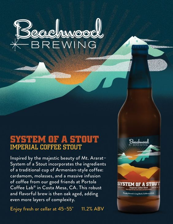 Beachwood Brewing System of a Stout Brandy Barrel Aged 12oz