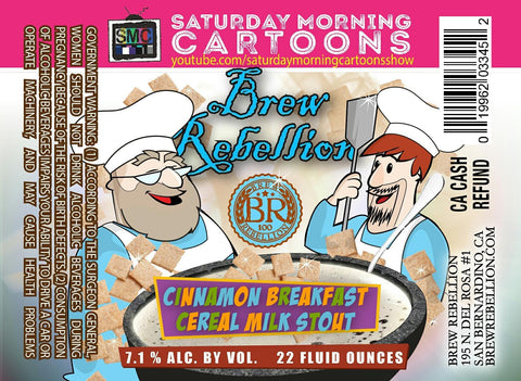 Brew Rebellion Saturday Morning Cartoons Cinnamon Breakfast Cereal Milk Stout 22oz