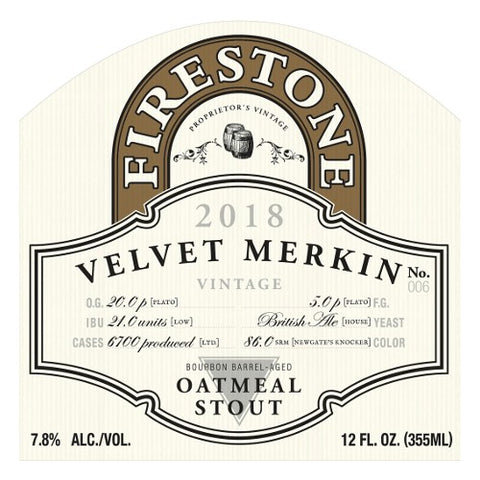 Firestone Velvet Merkin 12oz Oatmeal Stout LIMITED