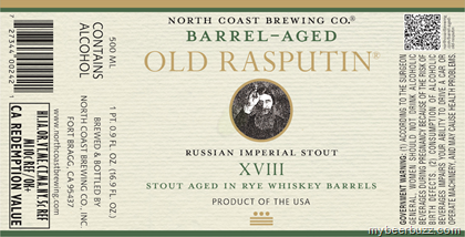 North Coast Barrel Aged Old Rasputin XVIII Rye whiskey