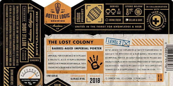 Bottle Logic The Lost Colony Imperial Porter 22oz LIMIT 1 2018