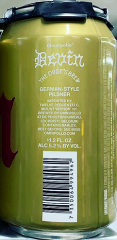 OMNIPOLLO DEVIN THE DUDE'S BREW GERMAN STYLE PILSNER 12oz can