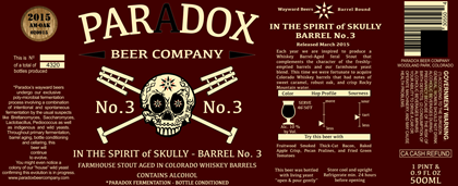 PARADOX IN THE SPIRIT OF SKULLY Barrel No. 3 500ML