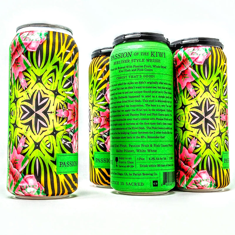 PARIAH BREWING CO. PASSION OF THE KIWI BERLINER WEISSE SOUR ALE 16oz can