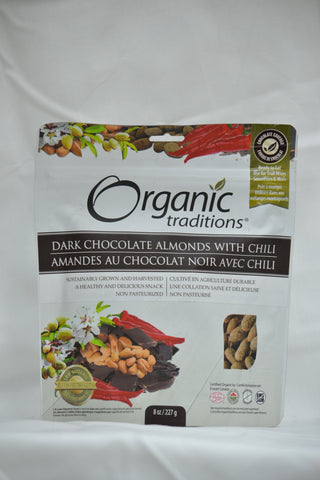 ORGANIC DARK CHOCOLATE ALMONDS WITH CHILI