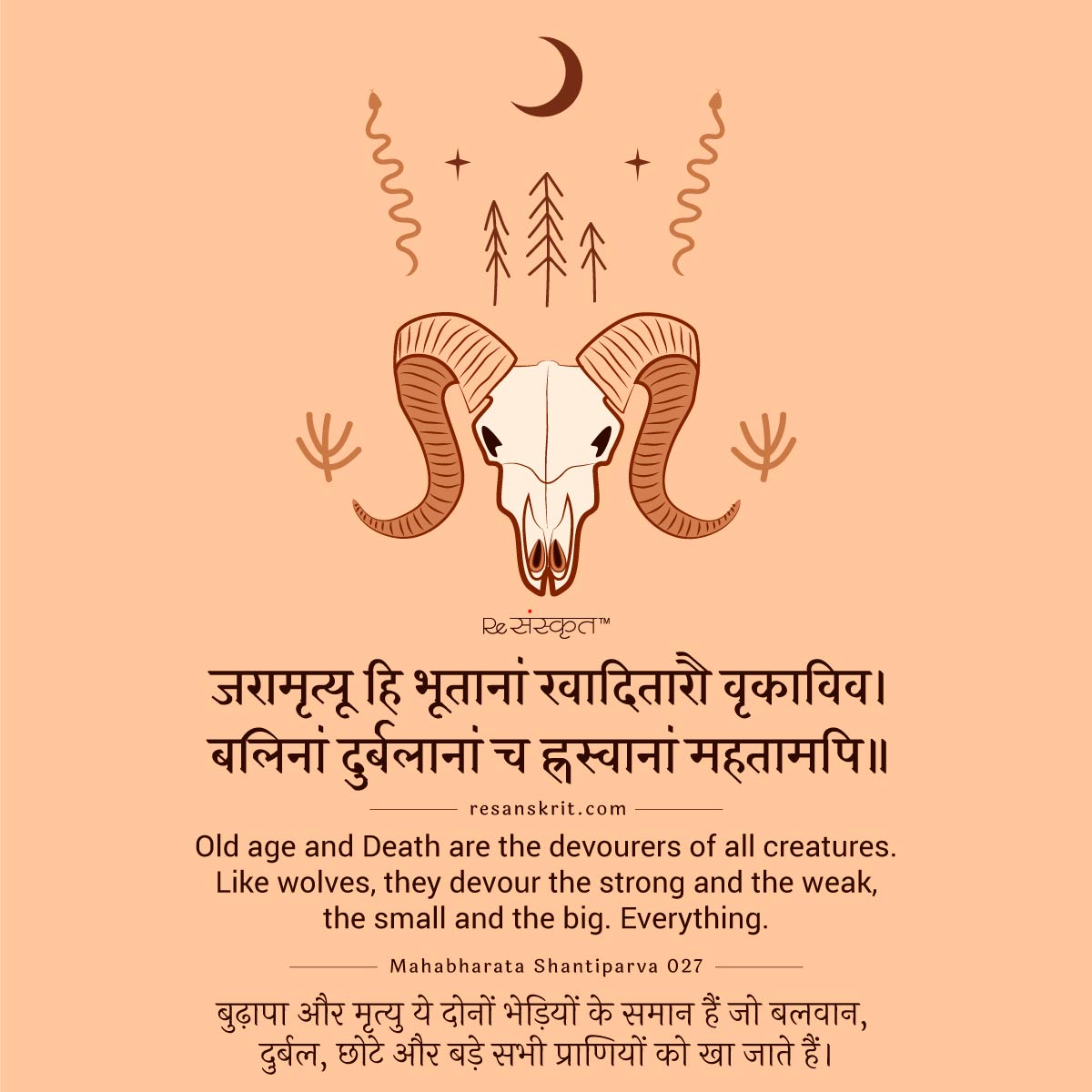 Sanskrit Quote on Death (and Old age)