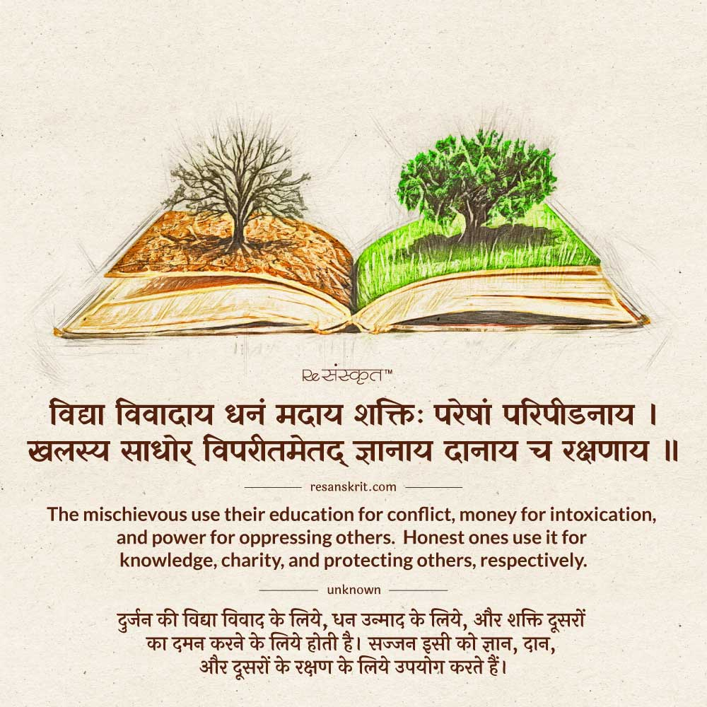 Sanskrit Quote on Knowledge and Wealth