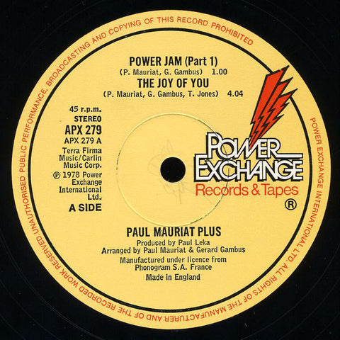 Paul Mauriat Plus ‎– Power Jam (Part 1) / The Joy Of You [VG+]