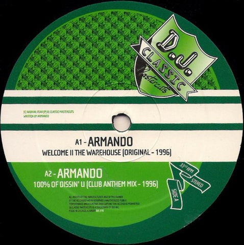 Armando / Dub Poets ‎– Welcome II The Warehouse / 100% Of Dissin' U / Blak & Whit [VG]