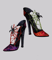 "Katherine's Collection Tricky Treats Halloween Collection Set 2 Approx 9"" Witch Spider Heels Free Ship-IN STOCK"