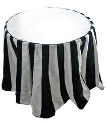 "Katherine's Collection Tricky Treats Halloween Collection 96"" Black And White Stripe Table Cloth Free Ship"