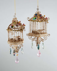 "Katherine's Collection La Fete Boheme Collection Four Assort 7"" Bohemian Jeweled Bird Cage Ornaments Free Ship"