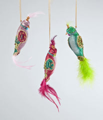 "Katherine's Collection La Fete Boheme Collection Twelve Assort 10"" Bohemian Bird Ornaments Free Ship"