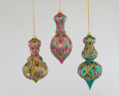 "Katherine's Collection La Fete Boheme Collection Six Assort 7"" Bohemian Embellished Dangle Glass Ornaments Free Ship"