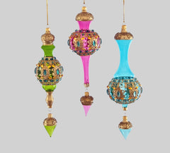 "Katherine's Collection La Fete Boheme Collection Six Assort 11"" Bohemian Deco Dangle Embellished Glass Ornaments Free Ship"