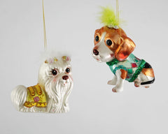 "Katherine's Collection La Fete Boheme Collection Twelve Assort 5"" Bohemian Glass Dog Ornaments Free Ship"