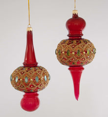 "Katherine's Collection La Fete Boheme Collection Four Assort 9"" Bohemian Jeweled Glass Finial Ornaments Free Ship"