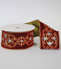 "Katherine's Collection Nativity Christmas Collection Two Rolls 4"" x 5 Yds  Embroidered Burgundy Gold Cut Out Ribbon Free Ship"