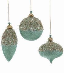 Katherine's Collection Celestial Fantasy Christmas Collection  Twelve Assorted 100mm  Glittered Turquoise Ornaments Free Ship