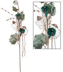 "Katherine's Collection Celestial Fantasy Christmas Collection Twelve Assorted 30"" Embellished Teal Trumpet Flower Stems Free Ship"