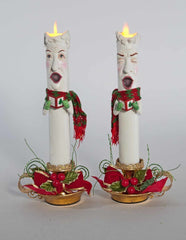 "Katherine's Collection Night Before Christmas Collection Two 13"" Christmas Caroling Candles Free Ship"
